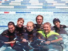 What a lovely groups of Instructors... Butter wouldn't melt in their mouths! bahahaha.... This was taken just before their last pool session before their exam.