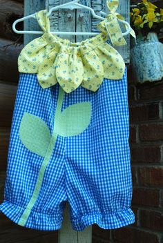 Sunny Flower - Pillowcase Romper Pattern. Girl Baby Toddler Sewing Pattern. Easy Sew Sizes 1/2, 1, 2, 3, 4, 5, 6 included. $7.75, via Etsy.