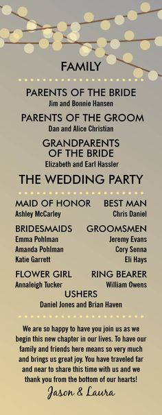 ABOUT THE PROGRAM ------------------------------------------------ This wedding program features a