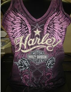 We love this Heavenly Harley tank top!  Buy online at: http://www.planetharley.com/Harley-Davidson-Womens-Sleeveless-Heavenly-Tank-p/86v5w06.htm