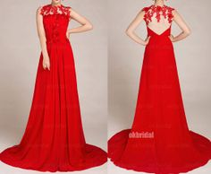 Red prom dresses lace prom dress backless prom dresses by okbridal, $169.00