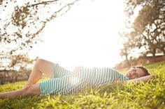Love the lighting and her striped dress for this Maternity Shoot