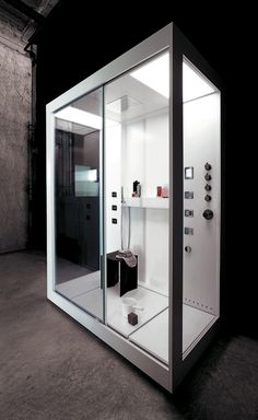 Spaceous shower case which could be combined with a sink in one area. I like how it could let the light go through in a tiny house.  Convert it into a wet bathroom with removable floor