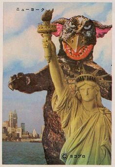'Bromide cards showing various pachimon kaiju at iconic locations around the world. Published by Yokopro in the ( statue of liberty / retro japan sci fi / science fiction ) Monster Art, Power Rangers, Kitsch, Vintage Magazine, Japanese Monster, Grunge, Scary Monsters, Famous Monsters, Turning Japanese