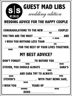 fun mad lib for the rehearsal dinner or wedding