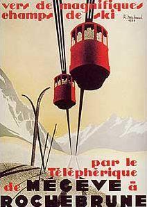 "Megeve a Rochebrune  Stock Number:  50027  Artist:  lithographie d""apres R. Michaud 1938"