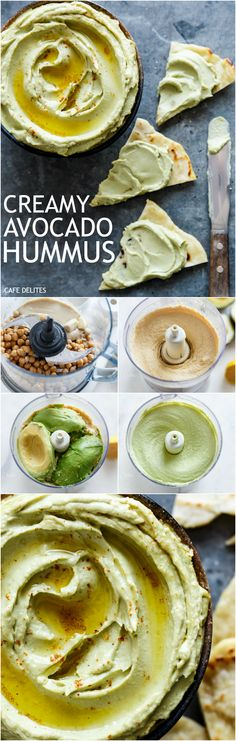 Avocado Hummus in minutes! Combining the best of both worlds with avocado and hummus in just one dip! | http://cafedelites.com