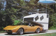 AMAZING 1975 CORVETTE STING RAY WITH CUSTOM CAMPER AND ROOF VIEWING PLATFORM - IDEAL FOR NASCAR INFIELD EVENTS!