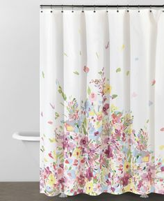 Delicate watercolour flowers on a shower curtain from DKNY at Bed Bath and Beyond www.bedbathandbeyond.ca