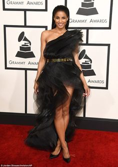 Turning heads: Ciara wowed in a blackAlexandre Vauthier gown at the Grammy Awards on Sund...