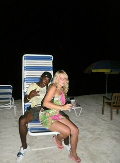 Interracial couple on the beach.