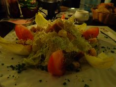 Caesar Salad (large salad with parmesan dressing and juicy chicken breast stripes) @ Restaurant Argentina