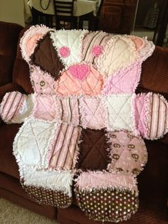 Girl bear Rag Quilt Wall HangingThrow  How bout a snowman? or Tree or . . . . ?