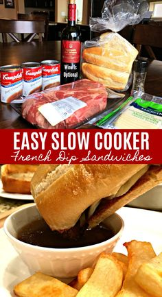 EASY SLOW COOKER FRENCH DIP SANDWICHES - Chuck roast slow cooked in beefy broth until tender, served on a french roll with ooey gooey melted cheese with a fantastic side of au jus for dipping. This wonderful classic is a family favorite, perfect for a busy day, parties, game day or when you're craving some good old comfort food. Simple to make, so good!!