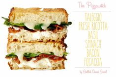 The Pizzawitch on focaccia with taleggio, fresh ricotta, basil, spinach, and bacon
