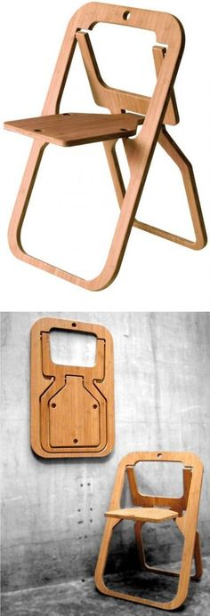 Assignment (using cardboard) Bamboo Folding Chair / Christian Desile. Opens for a sturdy seat, stores flat. Bonus points if it becomes a rocking chair! Folding Furniture, Smart Furniture, Bedroom Furniture, Folding Chairs, Modern Furniture, Foldable Chairs, Multifunctional Furniture, Furniture Vanity, Futuristic Furniture