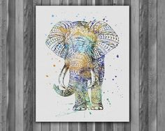 Elephant Boho Wall Art Print Watercolor illustration Painting Poster Home decor
