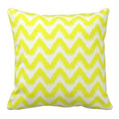 Modern Yellow Chevron Ikat Pillow #chevron #yellow #homedecor #prettythrowpillows #americanmojo Chevron Throw Pillows, Ikat Pillows, Custom Pillows, Decorative Pillows, Yellow Chevron, Pillow Quotes, Zig Zag Pattern, Modern Art, Handmade Gifts