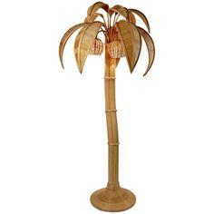 1970s Large Rattan Coconut Tree Floor Lamp