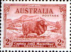 Issued of November Captain John Macarthur - Merino Sheep Rare Stamps, Vintage Stamps, Decimal, Sheep And Lamb, Old Toys, Alter, Vintage Posters, New Zealand, How To Memorize Things