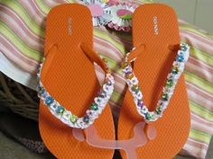 flip flops embellish with flowered ribbon