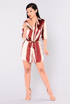 Mall Date Striped Dress - Burgundy