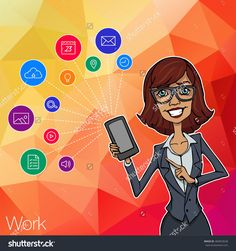 Woman Showing Smartphone Screen App For Network. Woman Presentation Of Mobile Application, Startup. Vector Cloud Service, Social Network And Technology Of Network. Mobile Hackathon And Network - 484053628 : Shutterstock