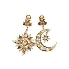 DIEGO PERCOSSI PAPI - GOLD PLATED MOON AND SUN EARRINGS ($990) ❤ liked on Polyvore featuring jewelry, earrings, accessories, brincos, gold plated jewellery, earring jewelry, gold plated earrings, diego percossi papi and yellow earrings