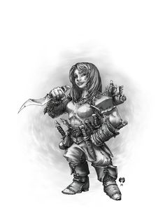 "Maudra by butterfrog | A female dwarf rogue. | ""Maudra became fond of sharp things after her first (and last) betrothal. she learned two powerful lessons from that time in her life: a well-made blade will never let you down (unlike family), and having an escape plan cuts down on the number of people you have to murder once you have what you came for."""