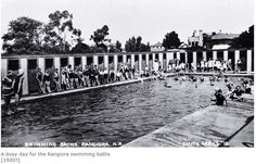 Rangiora Swimming Baths, Swimming Pool, 1920's. Christchurch, New Zealand.