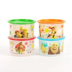 "Tupperware New Shrek One Touch Canisters 4pcs by Tupperware. $45.30. Set of 4. Color: Bases: Printed with Shrek Forever After patterns Seals: Red orange green and blue. Diameter x Height: 4-5/8"" x 3-1/8"" (11.8 x 8 cm). Capacity: 22 ounces (650 ml)/pc. ·One touch seals close virtually air-tight with the touch of a finger. Save 53%!"