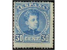 Spain 30 Céntimos azul. NO EXPENDIDO. Centrado habitual de este sello. Precioso. Inapreciable pliegue en esquina. Cert. COMEX.