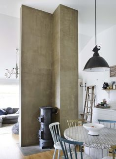 Fireplace - Norwegian interior designer's home from the Bolig Pluss magazine - Photo by Sveinung Bråthen