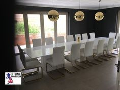 Super-white, super-sized, stunning quartz dining tables, on three matching pedestals, with the customer's own chairs surround. Dining Room Table, Dining Chairs, Marble Fire Surround, Marble Furniture, Granite Worktops, Super White, Bespoke Furniture, Quartz, Stone