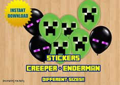 Minecraft BALLON and DECORATION STICKERS- Creeper and Enderman party decoration- Instant Download