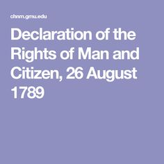 Declaration of the Rights of Man and Citizen, 26 August 1789