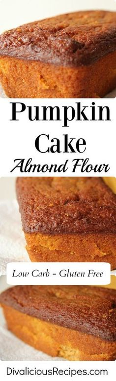 This pumpkin cake baked with almond flour yields a very moist cake.