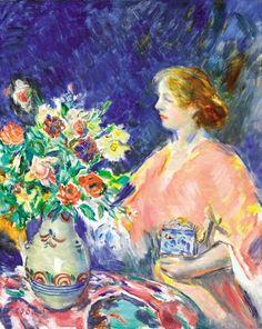 István Csók - Lady with a Bouquet of Flowers Budapest, Bunch Of Flowers, Flower Art, Art Nouveau, Modern Art, Bouquet, Fine Art, Gallery, Creative