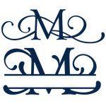 split & full flourish monogram - m