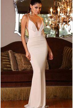 White V Neck Long Goddess Dress