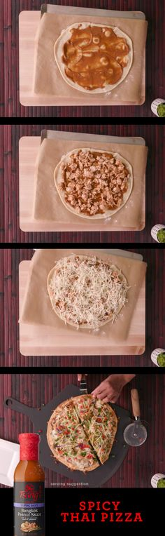 This Spicy Thai Pizza made with HOUSE OF TSANG® Bangkok Peanut Sauce is perfect for sharing! | Thai Flavor | Easy Meal | Asian Cooking Recipes Dinner, Lunch Recipes, Vegetarian Recipes, Cooking Recipes, Healthy Recipes, Stromboli, Calzone, Work Meals, Easy Meals