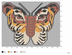 TIGER BUTTERFLY. A cross stitch pattern for all the LSU Tiger fans!
