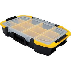 This Stanley Tool Box has removable dividers for customized organization of tools and parts. The unique shape allows for easy access to both hand and power tools. The Latch Operation enables the Hardware Organizer, Lid Organizer, Belt Storage, Tool Storage, Garage Storage, Kids Storage Bins, Storage Ideas, Small Tool Box, Stanley Products