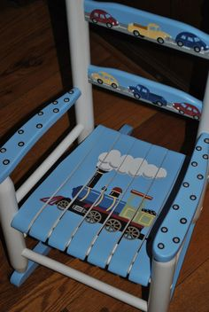 Children's - Transportation - Boys Rocking Chair - Baby Shower Gift, Nursery Furniture, Painted Child Chair, Baby Gift