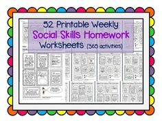 Much Needed! This pack contains 52 pages of social skills take-home worksheets (in PDF format), each of which in turn contains 7 exercises/activities. Social Work Activities, Social Skills Autism, Social Skills Lessons, Teaching Social Skills, Social Behavior, Counseling Activities, Coping Skills, Articulation Activities, Therapy Activities