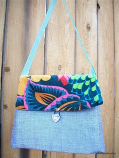 Teal Velvet Garden and Silvery Gray Girlie Bag by joliefemme, $12.00