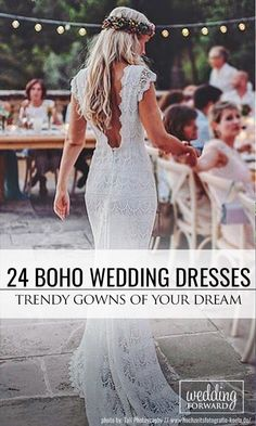 18 Boho Wedding Dresses Of Your Dream ❤ Such a wondrous boho wedding dresses, the lace, the line, the neckline, the back, simply remarkable. These gowns ideal choice for woodland, beach or countryside celebration.See more: http://www.weddingforward.com/boho-wedding-dresses/ #wedding #dresses #boho