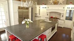 HGTV Host Chip Wade at Home in Atlanta - Counter, terrazzo top (a composite material usually made from cement and natural stone or glass).