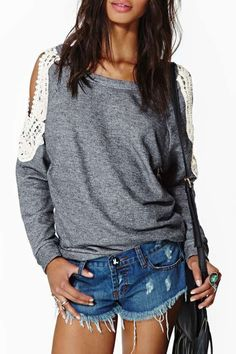 Lace Spliced Hollow Long Sleeves T-Shirt