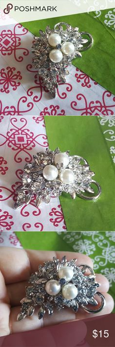 Lovely Rhinestone Pearl Brooch This is a beautiful diamond rhinestone brooch with three faux pearls. Silvertone backing. Is brand new. Vintage style Vintage Jewelry Brooches